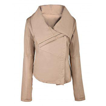 Casual Solid Color Turn-Down Collar Skew Zippered Jacket For Women