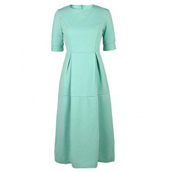 Half Sleeve Round Neck Midi Puffball Dress - LIGHT GREEN LIGHT GREEN