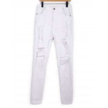 Stylish High-Waisted Slimming Ripped Solid Color Women's Pants