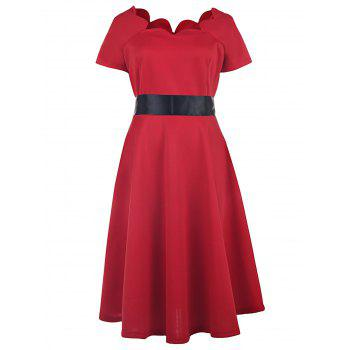 Vintage Style Short Sleeve Scoop Neck Women's Red Ball Gown Dress