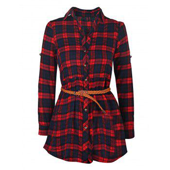 Trendy Long Sleeve Shirt Collar Plaid Women's Dress