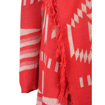 Simple Style Printed Collarless Tassel Hem Knitted Cardigan For Women - RED M