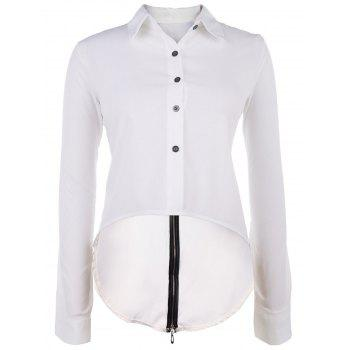 Chic Women's Shirt Collar Long Sleeve Hign-Low Back Slit Blouse - WHITE WHITE