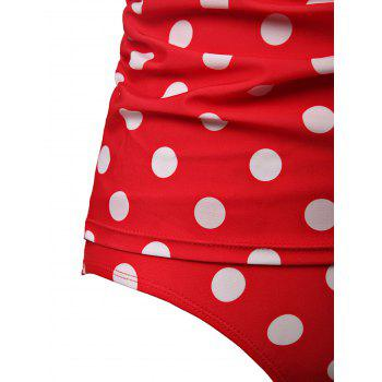 Chic Halter Ruffled Polka Dot One-Piece Women's Swimwear - L L