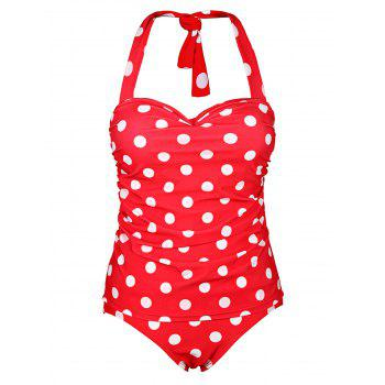 Chic Halter Ruffled Polka Dot One-Piece Women's Swimwear - RED L
