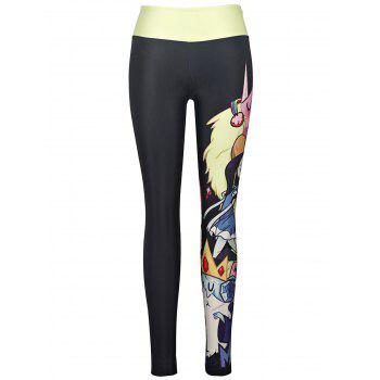 Street Style High Stretchy Cartoon Figure Print Yoga Leggings For Women