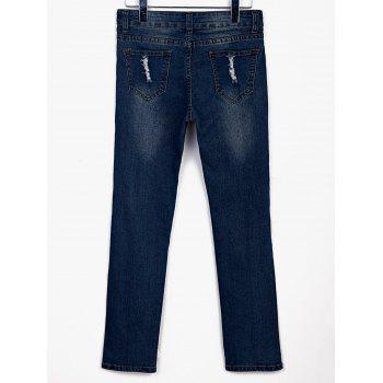 Stylish Mid-Waisted Broken Hold Design Frayed Women's Jeans - BLUE M