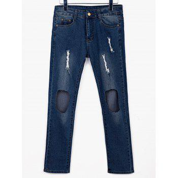 Stylish Mid-Waisted Broken Hold Design Frayed Women's Jeans - BLUE L