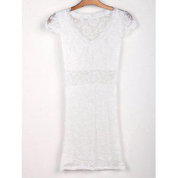 Sexy Plunging Neck Short Sleeve Bodycon Hollow Out Lace Women's Dress