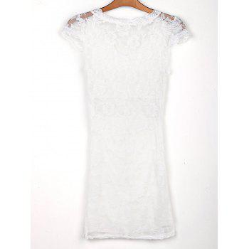 Sexy Plunging Neck Short Sleeve Bodycon Hollow Out Lace Women's Dress - WHITE ONE SIZE(FIT SIZE XS TO M)