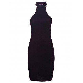 Sexy Stand-Up Collar Sleeveless Bodycon Solid Color Women's Dress
