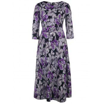 Vintage Style 1/2 Sleeve Round Neck Purple and Gray Flower Pattern Women's Dress