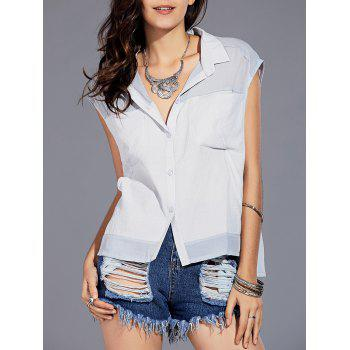 Trendy Shirt Collar Spliced Asymmetrical Button Design Women's Sleeveless Shirt