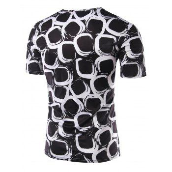 Slim Fit Printing Round Collar Short Sleeves T-Shirts For Men - 2XL 2XL