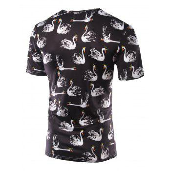 Slim Fit Swan Printing Round Collar Short Sleeves T-Shirts For Men - BLACK BLACK
