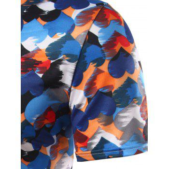 Slim Fit Heart Printing Round Collar Short Sleeves T-Shirts For Men - COLORFUL 2XL