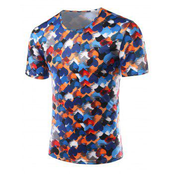 Slim Fit Heart Printing Round Collar Short Sleeves T-Shirts For Men - COLORFUL XL