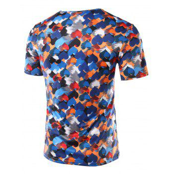 Slim Fit Heart Printing Round Collar Short Sleeves T-Shirts For Men - COLORFUL COLORFUL