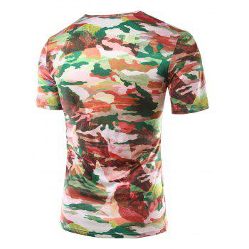Slim Fit Printed Round Collar Short Sleeves T-Shirts For Men - XL XL