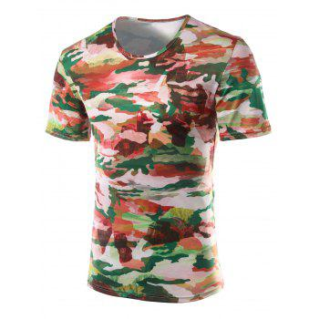 Slim Fit Printed Round Collar Short Sleeves T-Shirts For Men - COLORMIX XL
