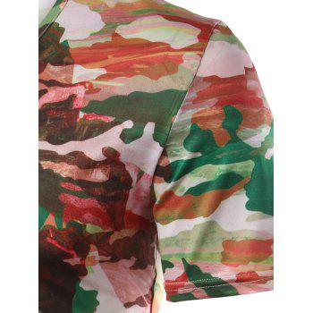 Slim Fit Printed Round Collar Short Sleeves T-Shirts For Men - COLORMIX COLORMIX
