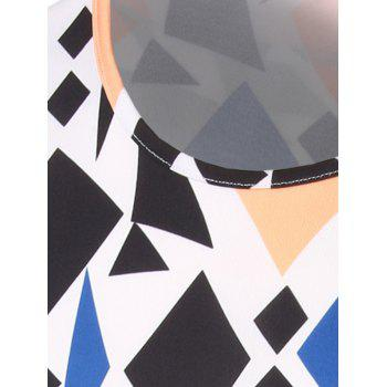 Slim Fit Geometric Figure Printed Round Collar Short Sleeves T-Shirts For Men - COLORMIX 2XL