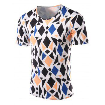 Slim Fit Geometric Figure Printed Round Collar Short Sleeves T-Shirts For Men - COLORMIX XL