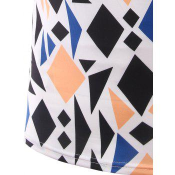Slim Fit Geometric Figure Printed Round Collar Short Sleeves T-Shirts For Men - L L