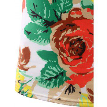 Slim Fit Flower Printed Round Collar Short Sleeves T-Shirts For Men - 2XL 2XL