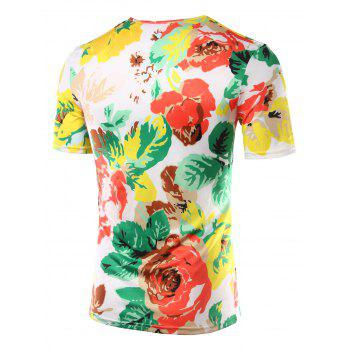 Slim Fit Flower Printed Round Collar Short Sleeves T-Shirts For Men - COLORMIX COLORMIX