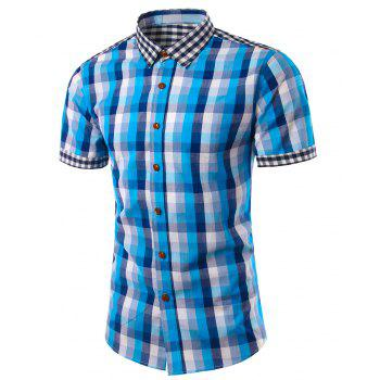 Slim Fit Turn Down Collar Plaid Short Sleeves Shirts For Men