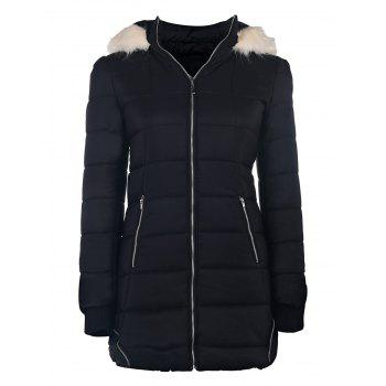 Chic Long Sleeve Fur Hooded Zip Up Slimming Pocket Design Women's Padded Coat