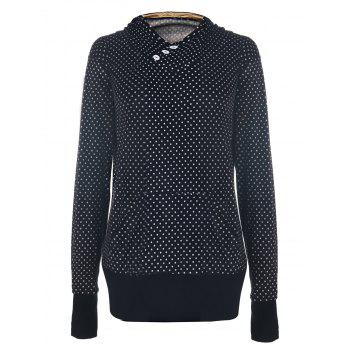 Chic Hooded Long Sleeve Pocket Design Polka Dot Women's Hoodie
