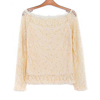 Stylish Slash Collar Long Sleeve Lace Hollow Out Women's Blouse