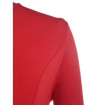 Stylish 3/4 Sleeve Stand Collar Asymmetrical Solid Color Women's T-Shirt - ORANGE RED 3XL