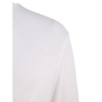 Stylish 3/4 Sleeve Stand Collar Asymmetrical Solid Color Women's T-Shirt - WHITE 2XL
