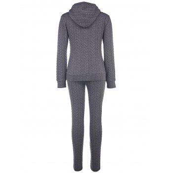 Stylish Long Sleeve Hooded Sweatshirt + Slimming Solid Color Pants Women's Twinset - GRAY S