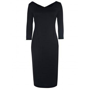 Sexy Square Neck 3/4 Sleeve Bodycon Pure Color Women's Dress