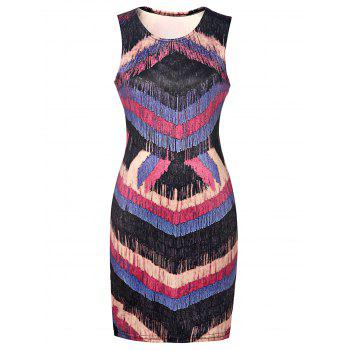 Sexy Scoop Neck Sleeveless Faux Tassel Printed Backless Dress For Women