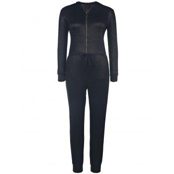 Attractive Hooded Zippered Solid Color Waist Drawstring Denim Jumpsuit For Women - BLACK L