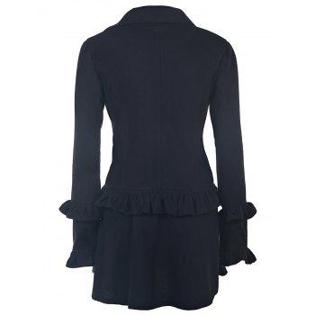 Elegant Long Sleeve Turn-Down Collar Double-Breasted Ruffles Women's Black Coat - M M