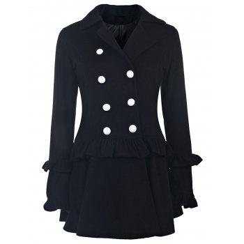 Elegant Long Sleeve Turn-Down Collar Double-Breasted Ruffles Women's Black Coat