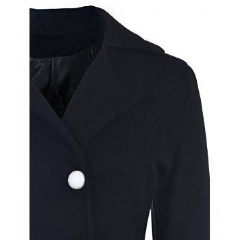 Elegant Long Sleeve Turn-Down Collar Double-Breasted Ruffles Women's Black Coat - XL XL