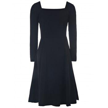 Elegant Long Sleeve Sweetheart Neck Ruched Solid Color Women's Dress - BLACK XL