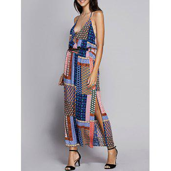 Bohemian Women's Fitted Spaghetti Strap Check Printed Dress