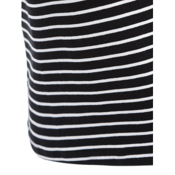 Casual Striped Short Sleeve Round Neck Beaded Women's T-Shirt - BLACK ONE SIZE(FIT SIZE XS TO M)