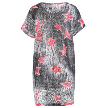 Stylish Star Print Short Sleeve Round Neck Women's T-Shirt - GRAY ONE SIZE(FIT SIZE XS TO M)
