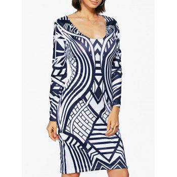 Bodycon Geometric Print Long Sleeve Scoop Neck Women's Dress