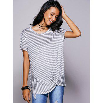 Casual Women's Scoop Neck Striped Twisted T-Shirt