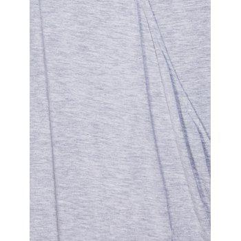 Casual Women's Plunging Neck Solid Color Wrap T-Shirt - GRAY L